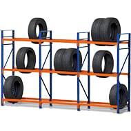 Reifenregale mit einer Tragkraft von 400kg je Ebene und Wahlweise in 30cm, 40cm, 50cm und 60cm.