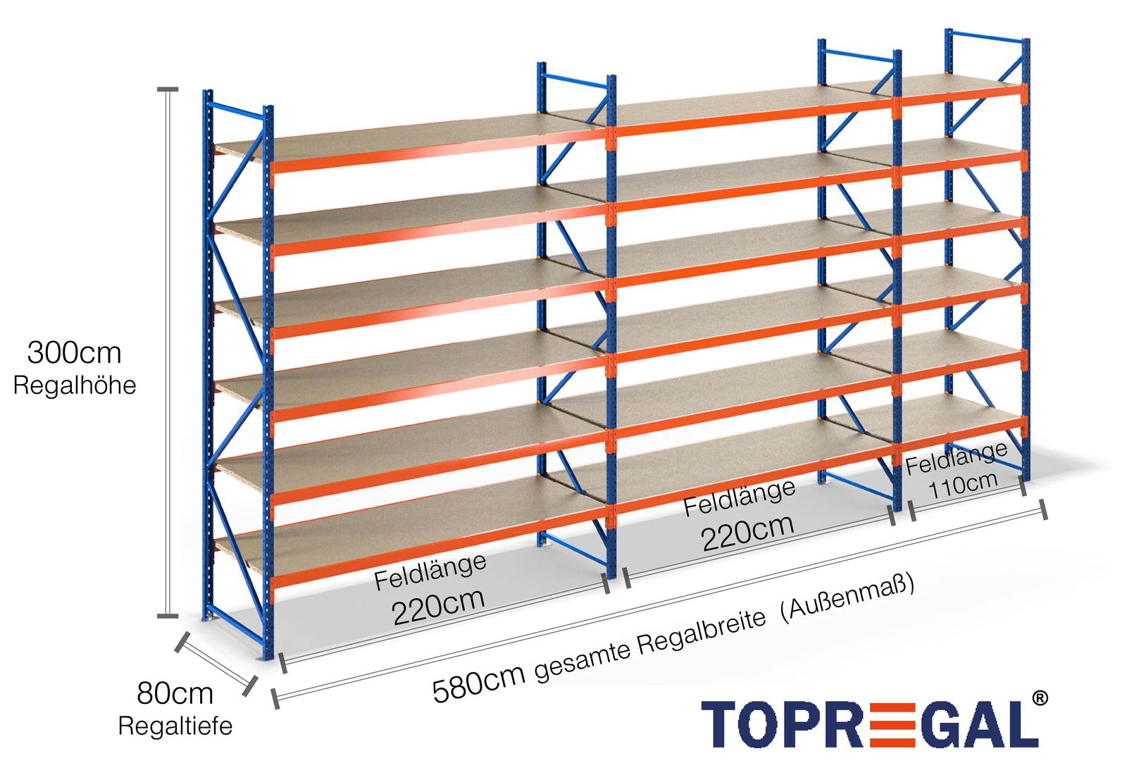 8m lagerregal 300cm hoch 80cm tief mit 6 ebenen inkl holzb den. Black Bedroom Furniture Sets. Home Design Ideas