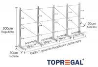 6,4m Kragarmregal 200cm hoch einseitig mit 3 Ebenen 50cm tief (feuerverzinkt)
