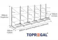 8,0m Kragarmregal 200cm hoch einseitig mit 3 Kragarmebenen 100cm tief (feuerverzinkt)