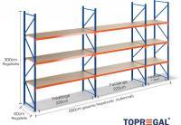5,8m Lagerregal 300cm hoch / 60cm tief mit 3 Ebenen inkl. Holzböden