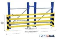 Anfahrschutz Rammschutzplanke, 193cm lang, 80cm hoch
