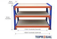 Packtisch Lagerregal / Grundtisch 1,2m mit 3 Ebenen inkl. Holzböden, 60cm tief, Tischhöhe 91cm