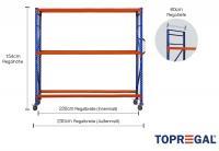 Lagerregal fahrbar 2,3m breit mit 3 Ebenen ohne Auflage, 60cm tief, Regalhöhe 154cm