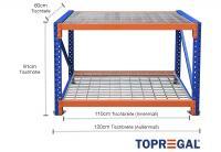 Packtisch Lagerregal / Grundtisch 1,2m mit 2 Ebenen inkl. Gitterrost, 60cm tief, Tischhöhe 91cm