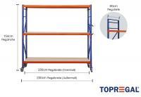 Lagerregal fahrbar 2,3m breit mit 3 Ebenen inkl. Holzböden, 80cm tief, Regalhöhe 154cm