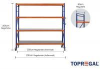 Lagerregal fahrbar 2,3m breit mit 4 Ebenen inkl. Stahlböden, 80cm tief, Regalhöhe 204cm