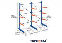 3,3m Kragarmregal 300cm hoch einseitig mit 3 Ebenen 100cm tief