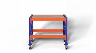 1,2m Werkbank fahrbar MFW1000 89–129cm hoch 60cm tief inkl. Multiplexplatte, konfigurierbar