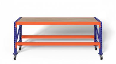 2,3m Werkbank fahrbar MFW1000 89–129cm hoch 60cm tief inkl. Multiplexplatte, konfigurierbar