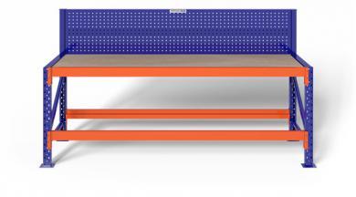 2,3m Werkbank MFW1000 75-115cm hoch 80cm tief inkl. Multiplexplatte/Lochwand, konfigurierbar
