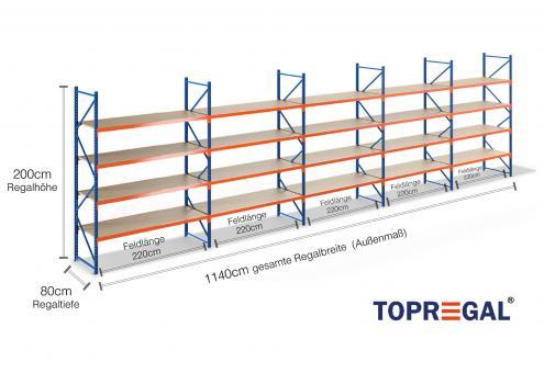 11 4m lagerregal 200cm hoch 80cm tief mit 4 ebenen inkl holzb den. Black Bedroom Furniture Sets. Home Design Ideas