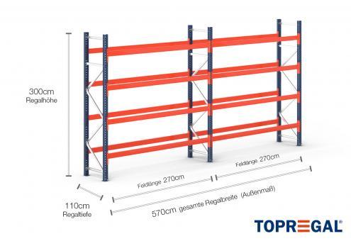 5,7m Palettenregal (Typ: PR9000) 3m hoch / 110cm tief mit 4 Ebenen für 30 Europal.