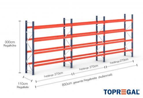 8,5m Palettenregal (Typ: PR9000) 3m hoch / 110cm tief mit 4 Ebenen für 45 Europal.