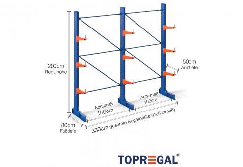 3,3m Kragarmregal 200cm hoch einseitig mit 3 Ebenen 50cm tief