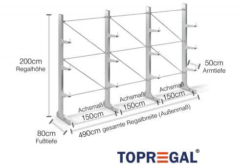 4,9m Kragarmregal 200cm hoch einseitig mit 3 Ebenen 50cm tief (feuerverzinkt)