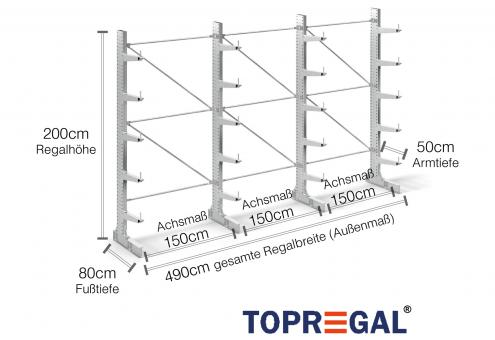 4,9m Kragarmregal 200cm hoch einseitig mit 5 Ebenen 50cm tief (feuerverzinkt)