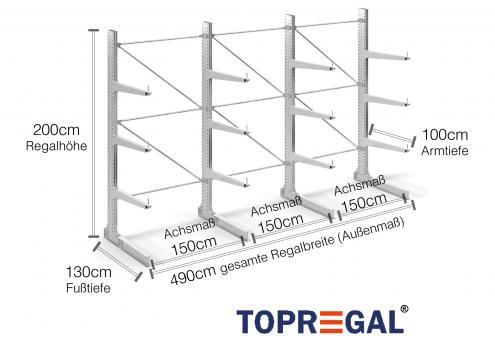 4,9m Kragarmregal (Typ:KR3000 Feuerverzinkt) 2m hoch einseitig mit 3 Ebenen 100cm tief