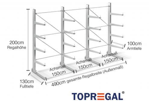 4,9m Kragarmregal (Typ:KR3000 Feuerverzinkt) 2m hoch einseitig mit 4 Ebenen 100cm tief