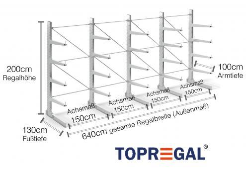 6,4m Kragarmregal (Typ:KR3000 Feuerverzinkt) 2m hoch einseitig mit 4 Ebenen 100cm tief
