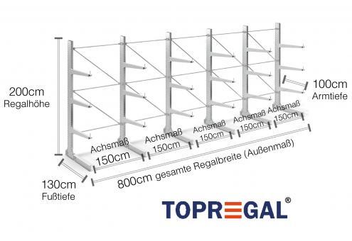 8m Kragarmregal (Typ:KR3000 Feuerverzinkt) 2m hoch einseitig mit 3 Ebenen 100cm tief