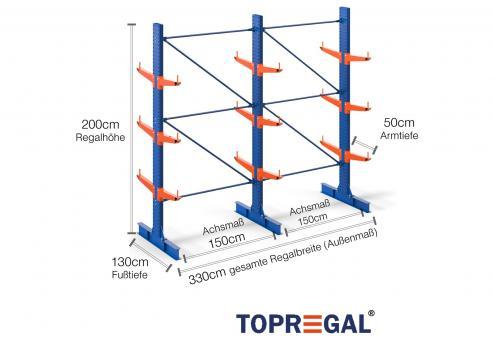 3,3m Kragarmregal (Typ:KR3000 Lackiert) 2m hoch doppelseitig mit 3 Ebenen 50cm tief