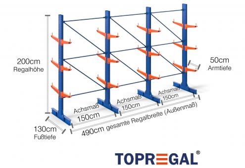 4,9m Kragarmregal (Typ:KR3000 Lackiert) 2m hoch doppelseitig mit 3 Ebenen 50cm tief