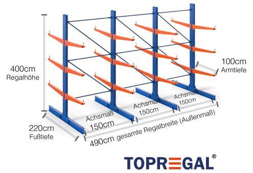 4,9m Kragarmregal 400cm hoch doppelseitig mit 3 Ebenen 100cm tief