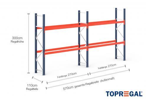 5,7m Palettenregal (Typ: PR9000) 3m hoch / 110cm tief mit 2 Ebenen für 18 Europal.