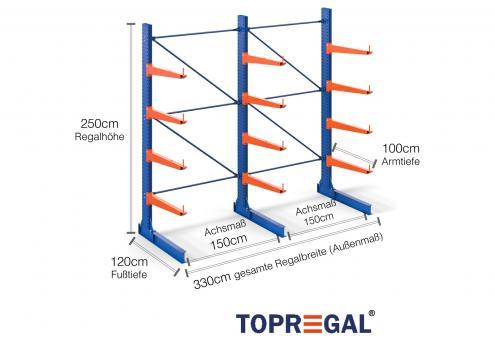 3,3m Kragarmregal (Typ:KR3000 Lackiert) 2,5m hoch einseitig mit 4 Ebenen 100cm tief