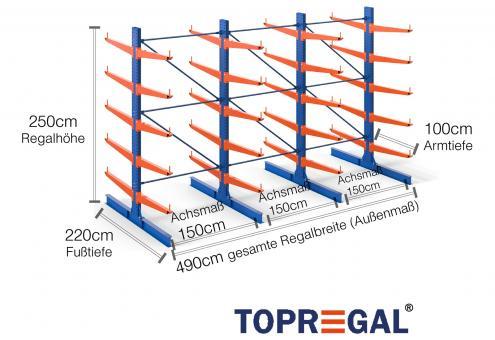 4,9m Kragarmregal (Typ:KR3000 Lackiert) 2,5m hoch doppelseitig mit 5 Ebenen 100cm tief