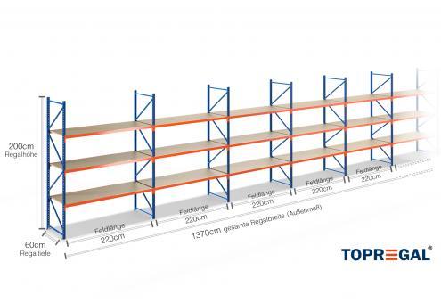 13,7m Lagerregal 200cm hoch / 60cm tief mit 3 Ebenen inkl. Holzböden