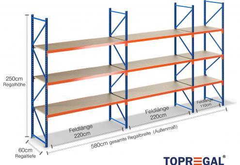 5,8m Lagerregal 250cm hoch / 60cm tief mit 3 Ebenen inkl. Holzböden