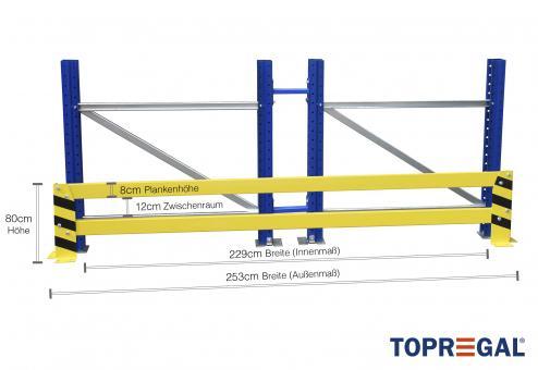 Anfahrschutz Rammschutzplanke, 253cm lang, 80cm hoch