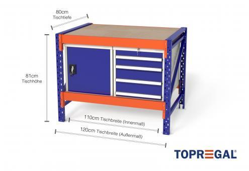 Arbeitstisch MFW1000, 1,2m Breite mit je 1xWS4, 1xWST Werkzeugschrank, 80cm tief, Tischhöhe 81cm