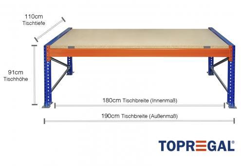 Packtisch Palettenregal / Grundtisch 1,9m mit 1 Ebene inkl. Holzböden, 110cm tief, Tischhöhe 91cm