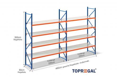 4,6m Lagerregal 350cm hoch / 80cm tief mit 4 Ebenen inkl. Stahlböden