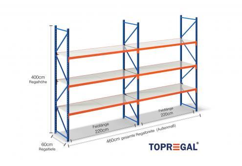 4,6m Lagerregal 400cm hoch / 60cm tief mit 3 Ebenen inkl. Stahlböden