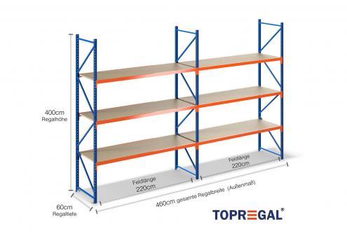 4,6m Lagerregal 400cm hoch / 60cm tief mit 3 Ebenen inkl. Holzböden
