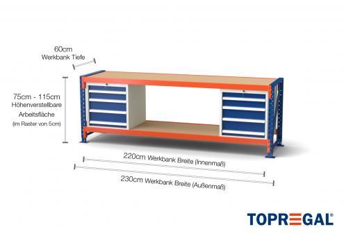 Werkbank MFW1000 2,3m Breite mit Holzboden & 2xWS4 Werkzeugschränken, 60cm tief, 75-115cm höhenverstellbar