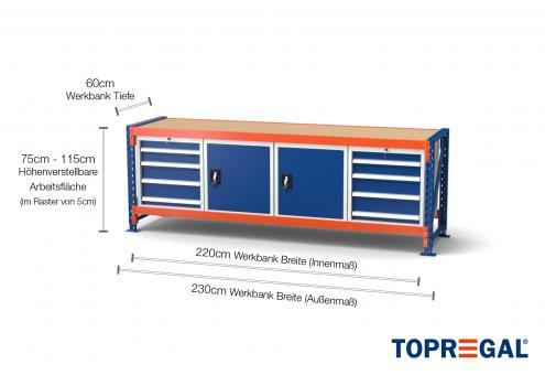Werkbank MFW1000, 2,3m Breite mit je 2xWS4, 2xWST Werkzeugschrank, 60cm tief, 75-115cm höhenverstellbar