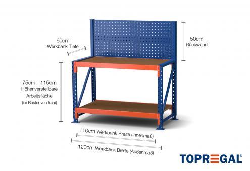 1,2m Werkbank MFW1000 75-115cm höhenverstellbar / 60cm tief inkl Multiplexauflage & Lochwand