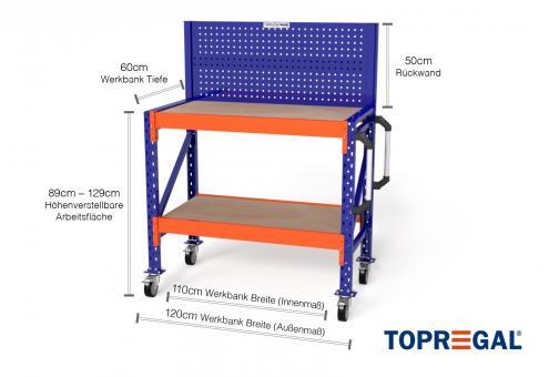 1,2m Werkbank fahrbar MFW1000 89-129cm höhenverstellbar / 60cm tief inkl Multiplexauflage & Lochwand