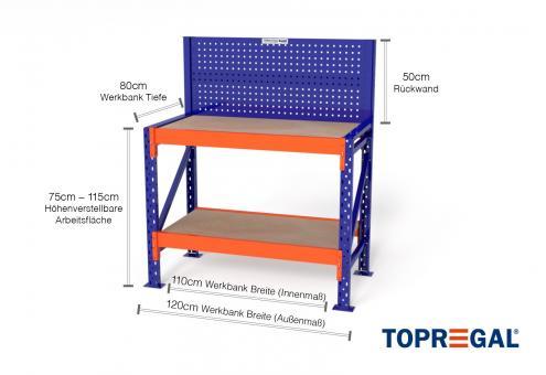 1,2m Werkbank MFW1000 75-115cm höhenverstellbar / 80cm tief inkl Multiplexauflage & Lochwand