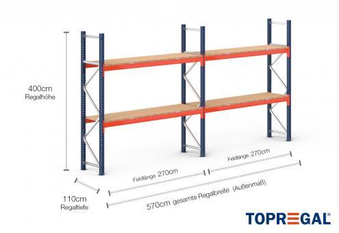 5,7m Palettenregal (Typ: PR9000) 4m hoch / 110cm tief mit 2 Ebenen inkl. Holzboden
