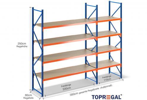 3,5m Lagerregal 250cm hoch / 60cm tief mit 4 Ebenen inkl. Holzböden