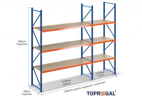 3,5m Lagerregal 300cm hoch / 60cm tief mit 3 Ebenen inkl. Holzböden