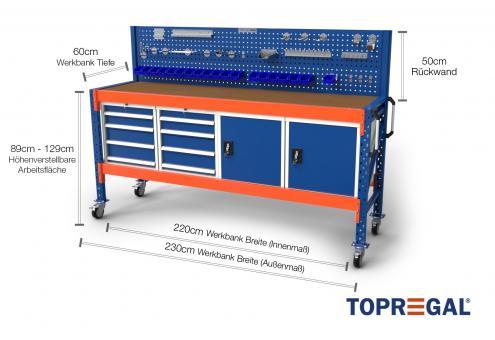 2,3m Werkbank fahrbar MFW1000 89–129cm hoch 60cm tief inkl Multiplexplatte, Lochwand und Werkzeughalter