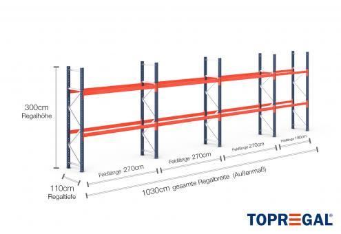 10,3m Palettenregal (Typ: PR9000) 3m hoch / 110cm tief mit 2 Ebenen für 33 Europal.