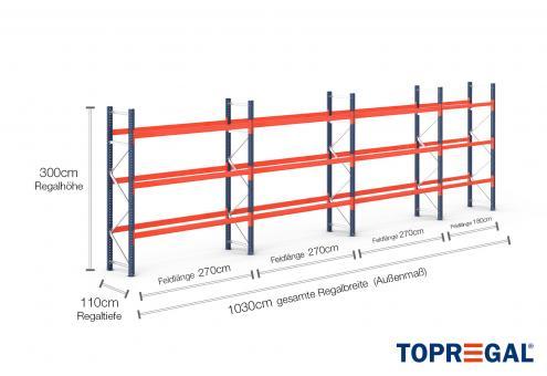 10,3m Palettenregal (Typ: PR9000) 3m hoch / 110cm tief mit 3 Ebenen für 44 Europal.